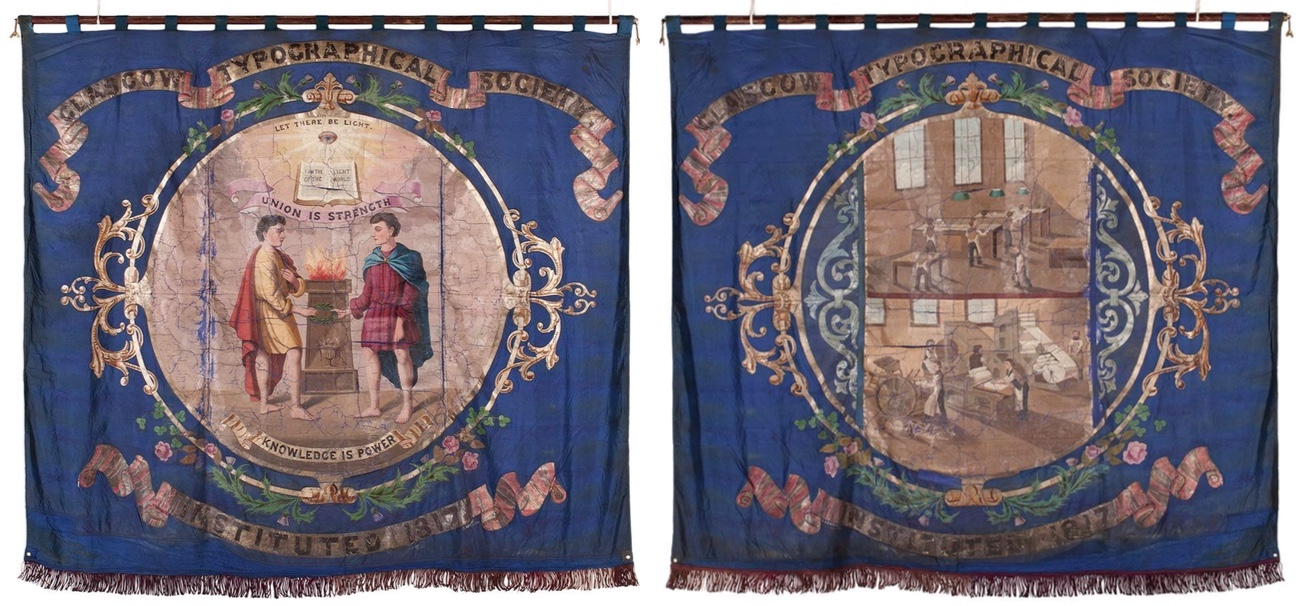 Banner of the Glasgow Typographical Society (recto and verso views), by George Kenning , London, 1883, © CSG CIC Glasgow Museums Collection