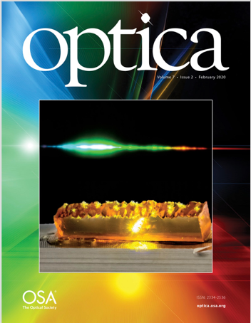 "Front cover of Optica (vol. 7, issue 2) highlighting a paper from the PISTACHIO project on ""Supercontinuum generation in orientation-patterned gallium phosphide"" by Marius Rutkauskas, Anchit Srivastava, A. and Derrick T. Reid (copyright The Optical Society)"